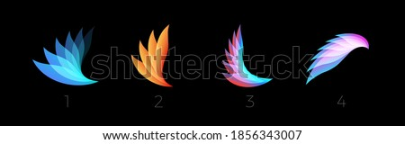 Beauty petals flat cartoon style vector logo set concept. Abstract light gradient wings symbol collection for business and startup. Colored feathers isolated icons on black background.