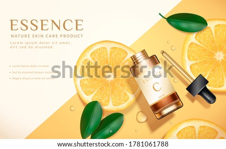 Beauty product ad, concept of simple skincare, dropper bottle mock-up set on minimal yellow background with sliced lemons