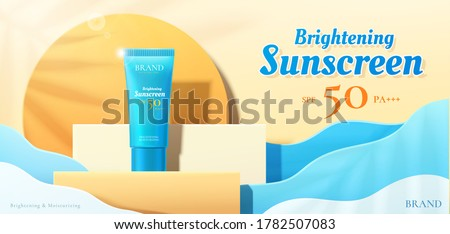 Beauty product ad template, sunscreen mock-up on square podium with ocean wave paper art background, 3d illustration