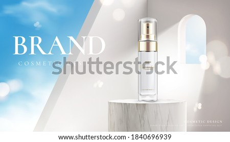 Beauty product on marble stage with a sunshine coming through a window. Branded cosmetic cream advertisement.