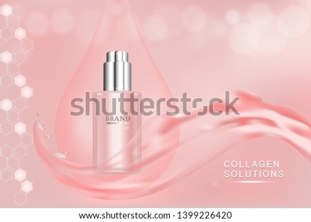 Beauty product, pink cosmetic container with advertising background ready to use, luxury skin care ad, illustration vector.