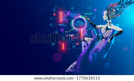 Beauty robot woman sitting in hand human, analyze data on hud interface in cyberspace. Cyborg with artificial intelligence working with neural networks, big data, cloud computing. AI and Industry 4.0