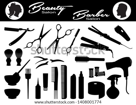 Beauty salon and  Barber salon. Set hairdressing related symbols. Hairdressing equipment and accessories.  Design elements of beauty salons and hair salons. Isolated black silhouette. Vector illustrat