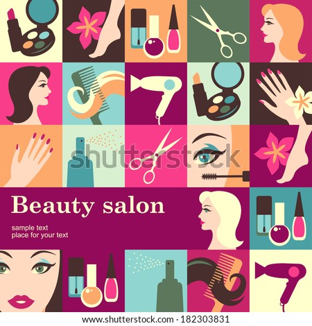 Beauty salon design template card Vector background