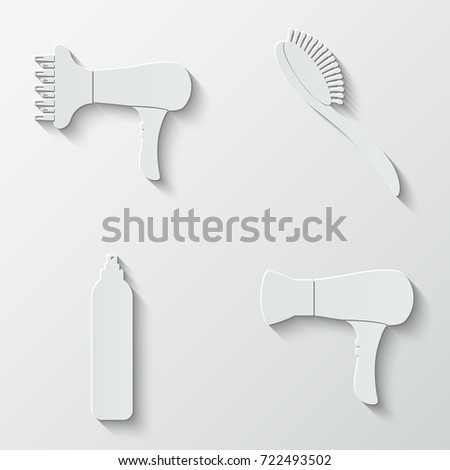 Beauty salon icons - paper  set