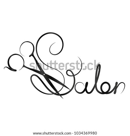 Beauty salon inscription with scissors vector