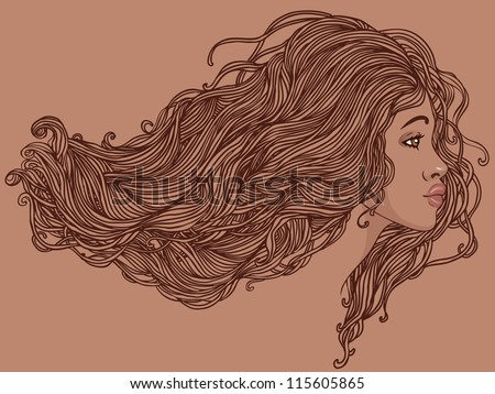 Beauty Salon: Portrait of pretty young african american woman in profile view with long beautiful hair. Vector illustration