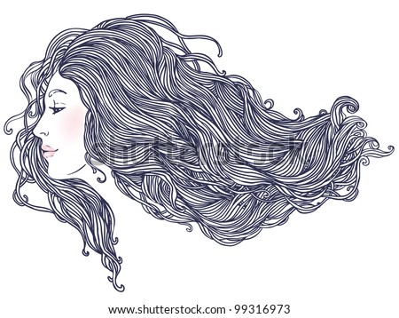 Beauty Salon: Portrait of pretty young woman in profile view with long beautiful hair. Vector illustration