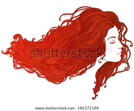 Beauty Salon Portrait of pretty young woman in profile view with long beautiful red hair Vector illustration