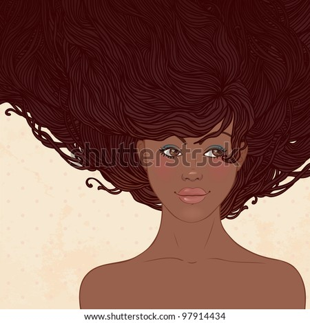 Beauty Salon: Pretty young african american woman with beautiful long hairs. Vector illustration - stock vector