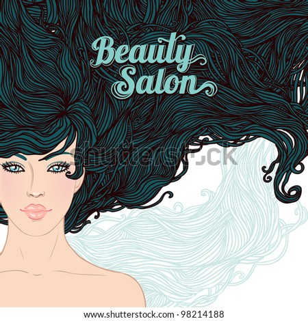 Beauty Salon: Pretty young brunette woman with beautiful long hairs. Vector illustration - stock vector