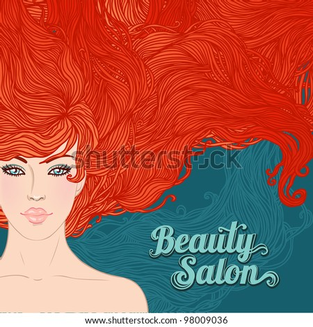 Beauty Salon: Pretty young woman with beautiful red hairs isolated on white. Vector illustration - stock vector