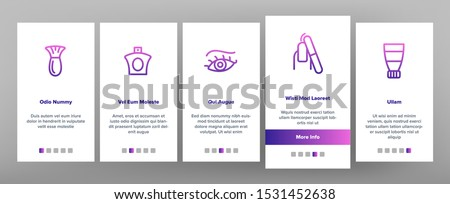 Beauty Shop Onboarding Mobile App Page Screen Vector Thin Line. Fan And Mirror, Perfume And Nail Polish, Chair And Scissors Equipment For Beauty Concept Linear Pictograms. Illustrations