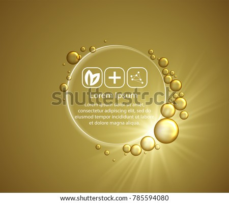 Beauty skin care design over golden backdrop. Vector illustration.Shining golden essence droplet.Bubbles oil Serum Skin Care Cosmetic.Collagen Sollution. Vector 3d illustration