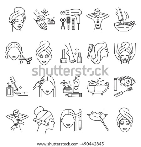 Beauty, skin care, manicure, facial mask, makeup, pedicure, haircut, cosmetics,  hair coloring, massage line icons set, vector illustration. Signs and symbols collection