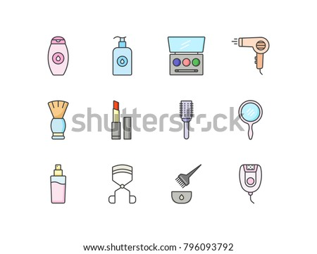 beauty, skincare and makeup flat line colored icons set with shampoo,  liquid soap,