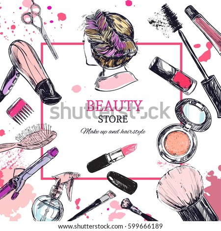 Beauty store background with make up artist and hairdressing objects: lipstick, cream, brush. Template Vector. Hand drawn isolated objects