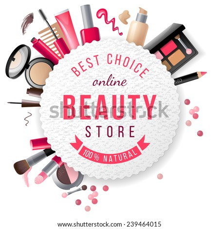 beauty store emblem with type...