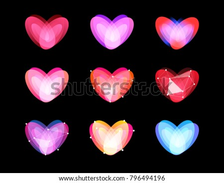 Beauty unusual hearts collection. Abstract polygonal heart design. Valentines Day symbols, vector ilustration. Cyber love logo template.