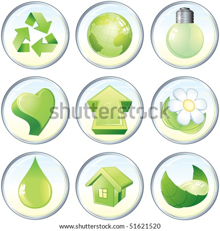 Beauty vector icons, nature green symbols or labels: drop,flower,globe,recycled,heart,arrow,light bulb,home