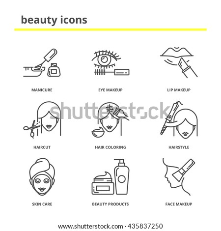 Beauty vector icons set: manicure, eye and lip makeup, haircut, hair coloring, hairstyle, skin care, beauty products, cosmetics. Line style