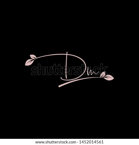 Beauty vector Initial letters D M with leaf. Signature, handwriting, fashion, boutique, wedding, jewelry, botanical , floral logo creative Vector logo Design template Stok fotoğraf ©