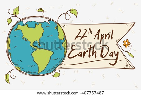 Beauty view of the planet with a ribbon and greeting message in cartoon style for Earth Day. - stock vector