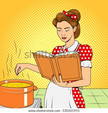 Beauty wife cooking soup vector illustration retro halftone pop art comic strip style