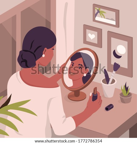 Beauty Woman at Dressing Table Looking at Mirror and doing Make Up. Girl Applying Lipstick in front of Cosmetic Mirror. Makeup and Beauty Care Routine Concept. Flat Cartoon Vector  Illustration. Сток-фото ©