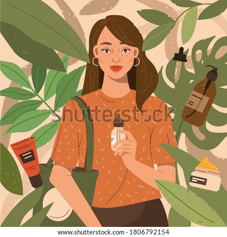 Beauty Woman Holding Reusable Shopping Bag and Choosing Different Eco Vegan Cosmetic. Natural Skin Care. Eco Lifestyle and Sustainability Consumerism Concept. Flat Cartoon Vector Illustration.
