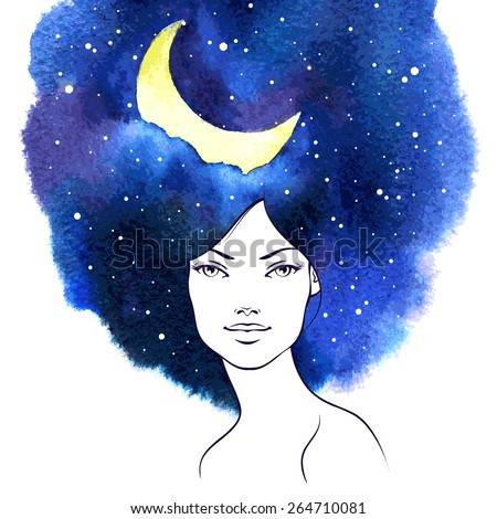 Stock Photo Beauty woman portrait with watercolor stain as hair. Night sky with moon and stars Vector Illustration. Stylish fashion design. Conceptual beauty natural design background or banner.