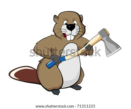 Beaver with an ax (vector illustration)