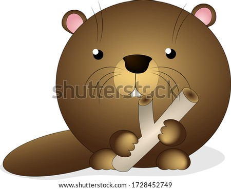 Beaver with log, vector illustration Photo stock ©