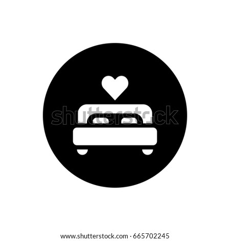 bed and heart icon illustration isolated vector sign symbol