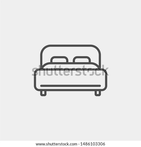 Bed flat vector icon. Hotel flat vector icon. Accommodation flat vector icon