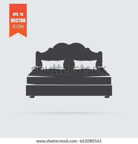 Bed icon in flat style isolated on grey background. For your design, logo. Vector illustration.