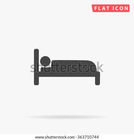 Bed Icon vector. Simple flat symbol. Perfect Black pictogram illustration on white background.