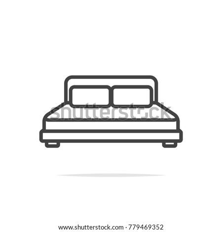 Bed line icon vector