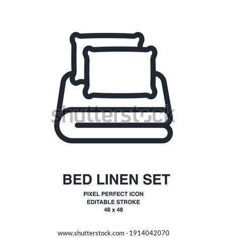 Bed linen set with pillows, bed sheet and duvet cover isolated on white background outline icon. Editable stroke. 48 x 48. Foto stock ©