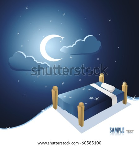 bed under beautiful night sky