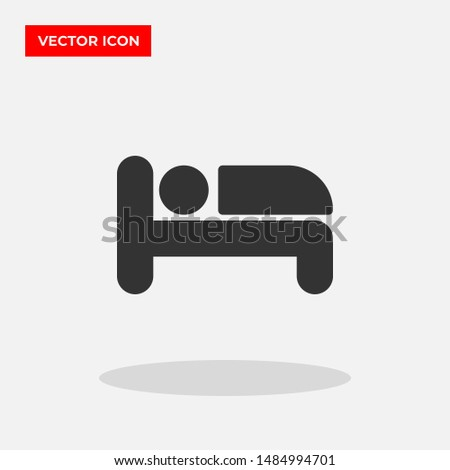 Bed vector icon in trendy flat style isolated on grey background