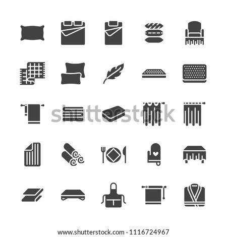 Bedding flat glyph icons. Orthopedics mattresses, bedroom linen, pillows, sheets set, blanket and duvet illustrations. Signs for interior store. Solid silhouette pixel perfect 64x64.
