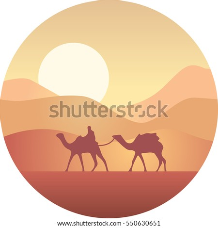 Bedouin leading a caravan of camels in the desert at sunset
