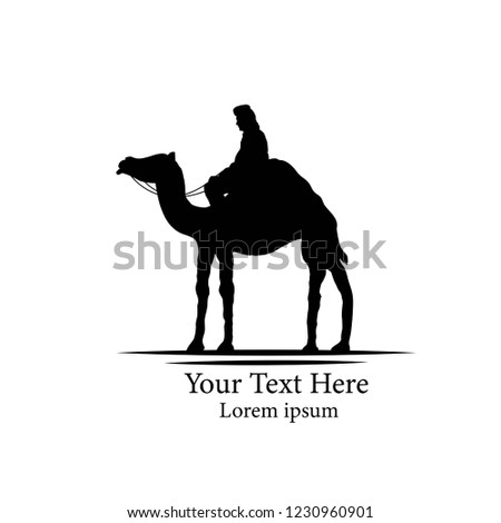 Bedouin on a Camel Silhouette Isolated on White