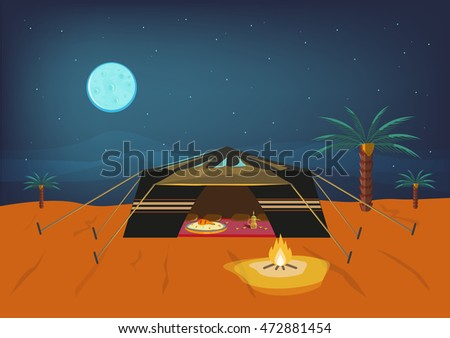 bedouin tent at night time