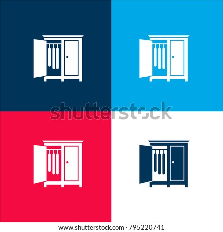 Bedroom closet with opened door of the side to hang clothes four color material and minimal icon logo set in red and blue