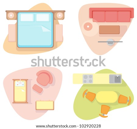 Bedroom, drawing room, nursery and kitchen