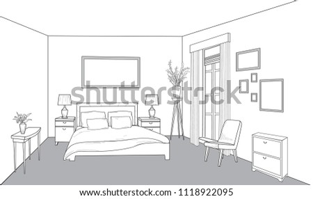 Bedroom furniture. Bed room view. Modern interior outline blueprint