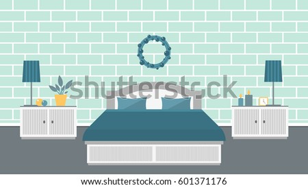 bedroom in blue and turquoise