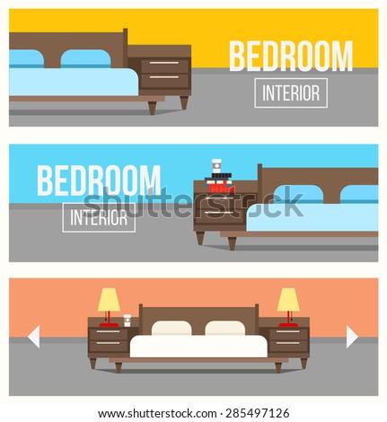 Bedroom interior design banners stock vector illustration for Interior design banner images